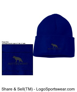 Royal Beanie Cap with White Embroidery. Design Zoom